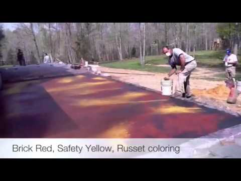 Coloring a slab of concrete prior to stamping