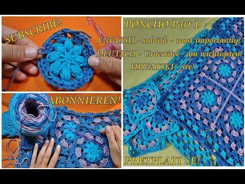How To Crochet Sweet Granny Squares Poncho Cardigan Part 1 Step