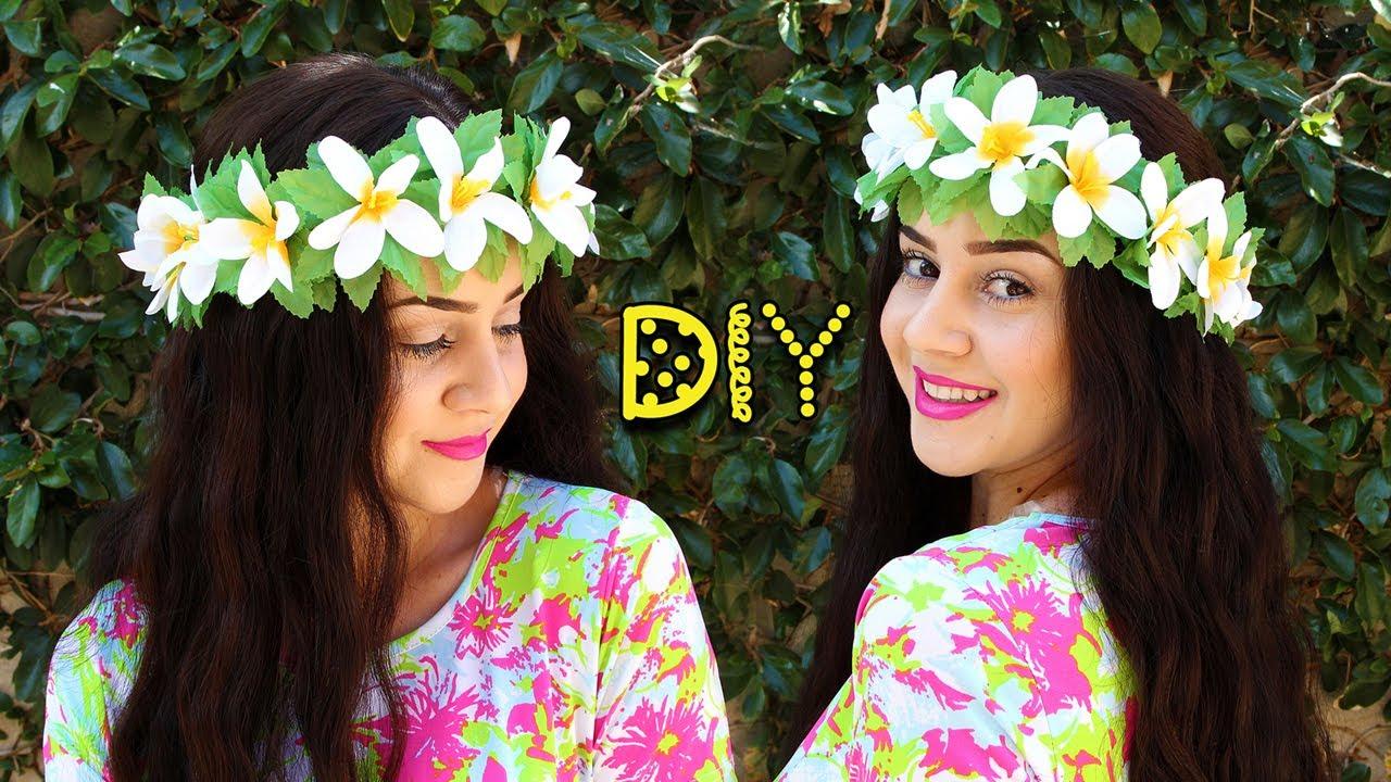 Diy 3 hawaiian flower crown lucykiins youtube diy 3 hawaiian flower crown lucykiins izmirmasajfo