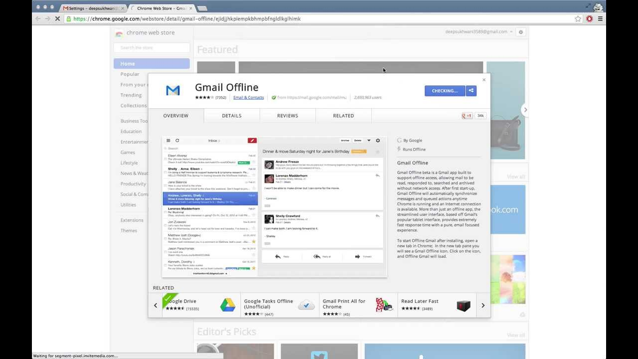 You'll need to download Gmail Offline to use Gmail offline. Get it on the Chrome web store.