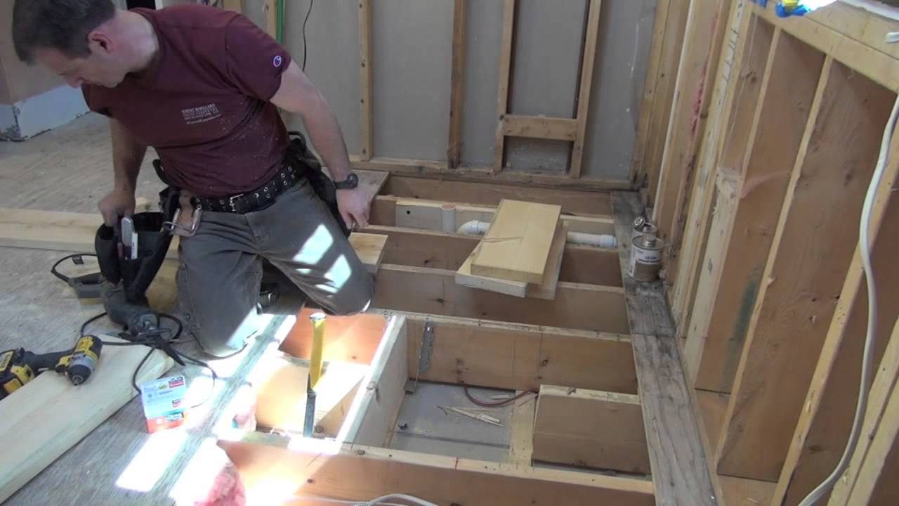 Bathroom Remodeling Part 7 Framing Openings In Floor Joists Youtube