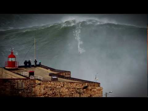 100ft World Record Wave, Garrett McNamara Surfing Nazare, Portugal