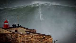 100ft world record wave garrett mcnamara surfing nazare portugal