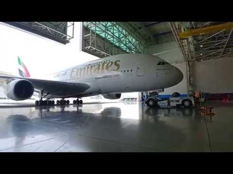 Emirates A380 pushback after maintenance from Hangar