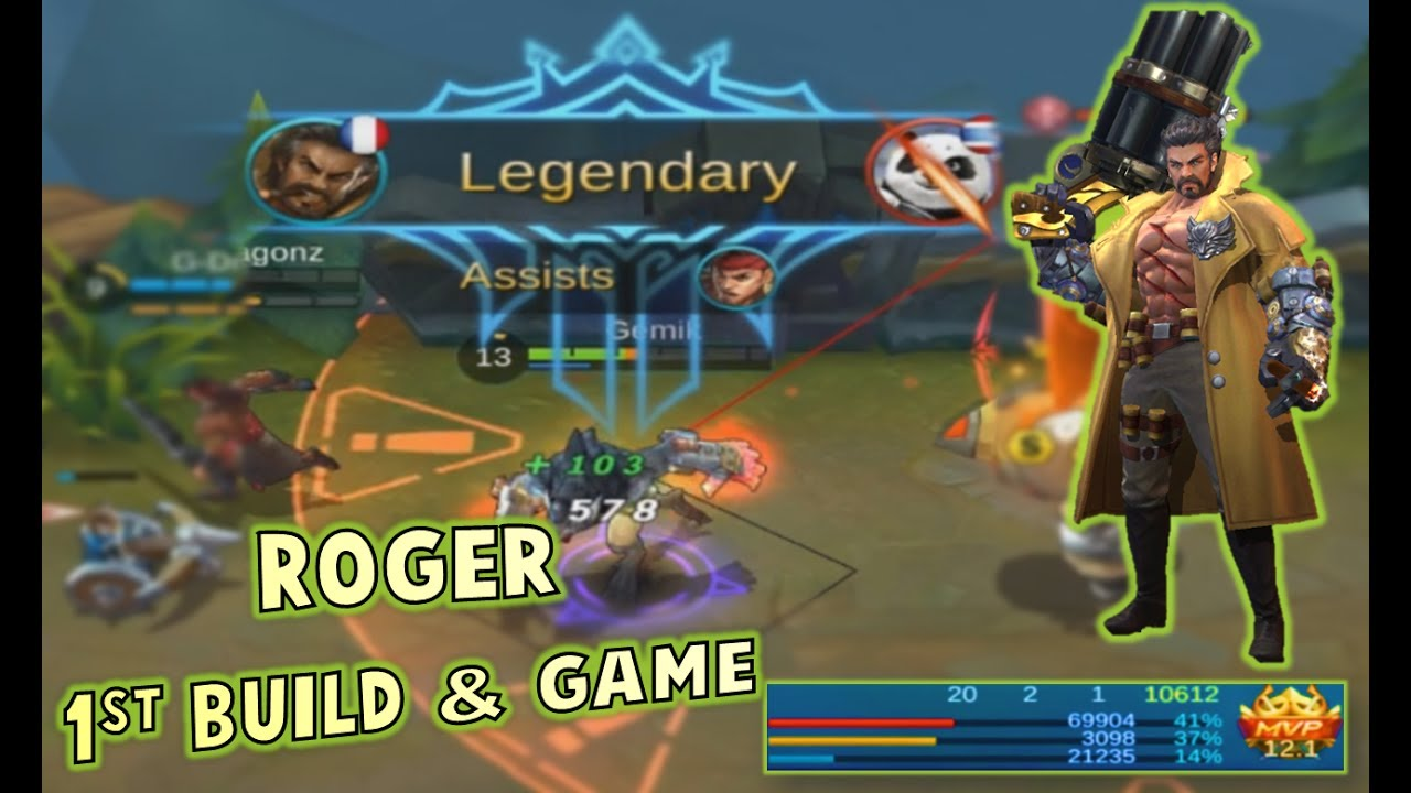 Mobile Legends 20-2-1 KDA ROGER GAMEPLAY + BUILD ! HE IS A