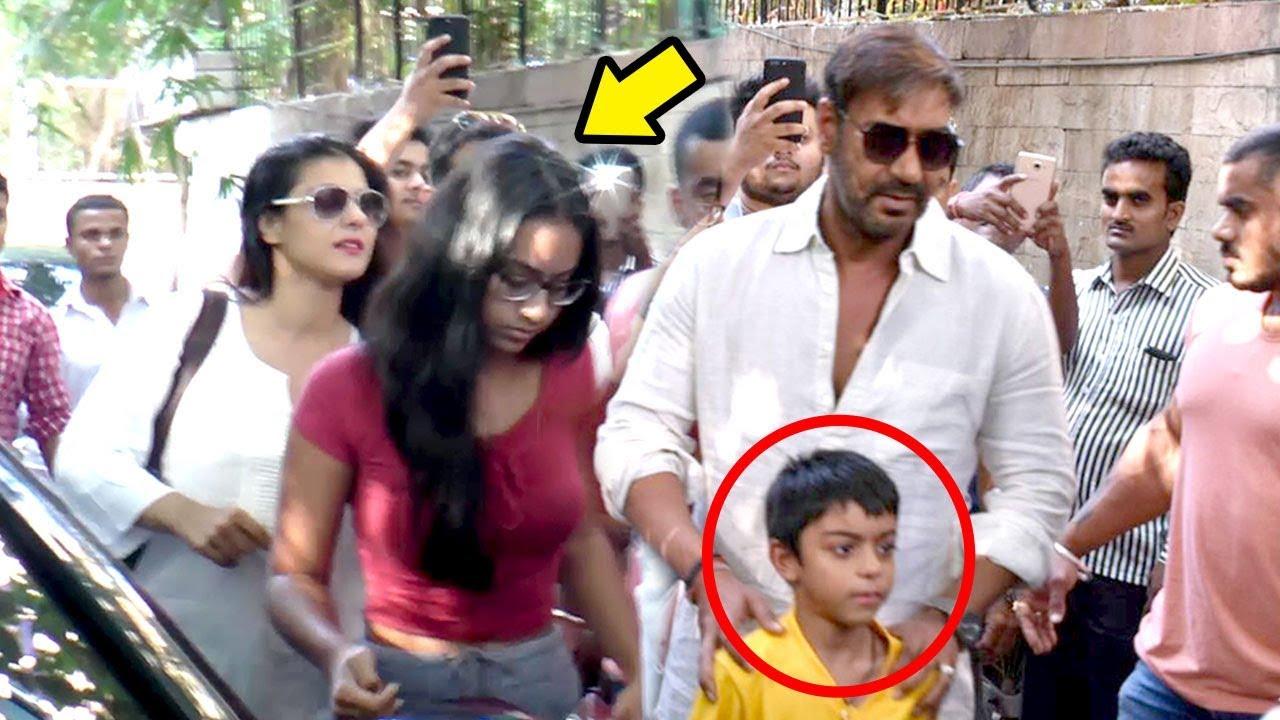 Ajay Devgn With Kajol  Children Daughter Nysa  Son Yug -4571