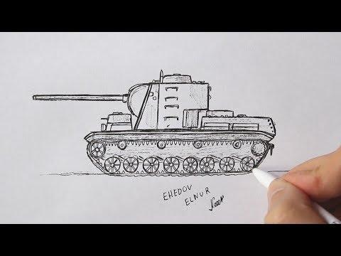 Как нарисовать Танк ручкой КВ-5