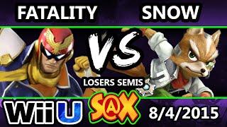 S@X 109 - SWS | Fatality (Captain Falcon) Vs. Snow (Fox) SSB4 Losers Semis - Smash Wii U - Smash 4