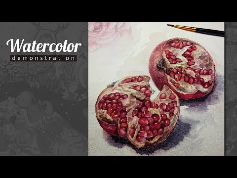 Pomegranate Fruit. How to draw Realistic Watercolor. Demo. Speed painting.
