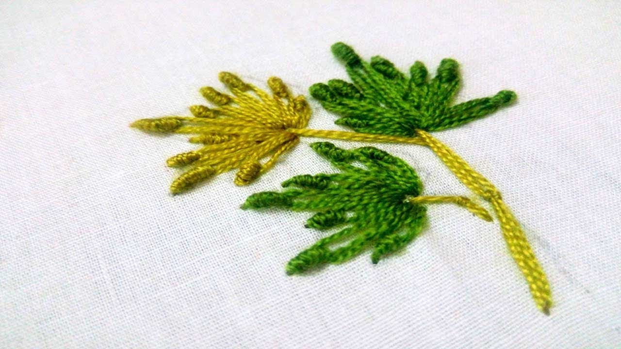 Hand Embroidery Leaf Design Bullion Lazy Stitch By Nakshi Katha