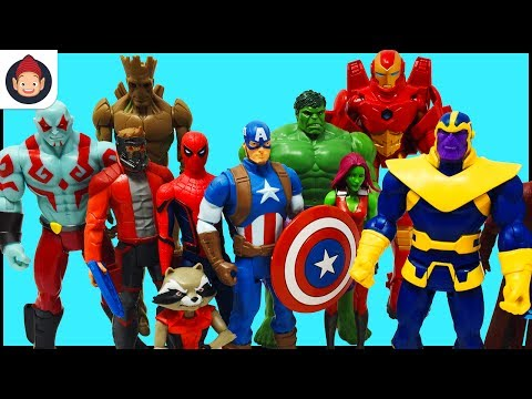 Marvel Avengers Guardians of the Galaxy Superheroes Toys – Captain America Iron Man Hulk Spider Man