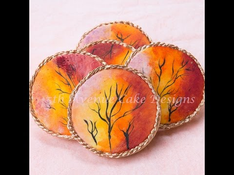 How to Decorate Edible Hand Paint Sunset Cookies