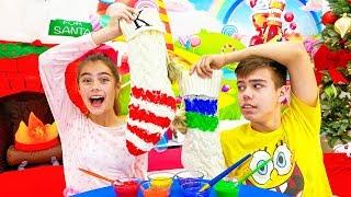 Nastya and Artem open gifts