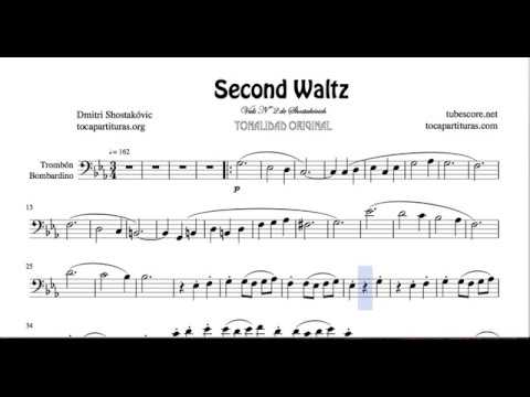 Second Waltz by Shostakovich Sheet Music for Trombone and Euphonium Bass Clef