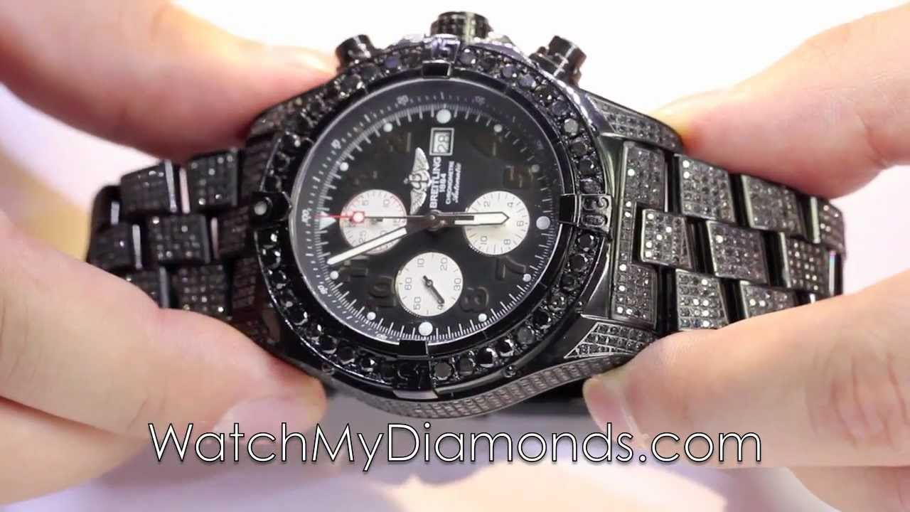 genuine mens black diamond watch breitling black pvd