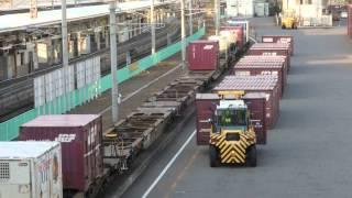 JR貨物列車の到着だ 積んで降ろして EH500-55