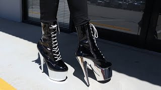 Review Try Out Pleaser ADORE-1020 Black Silver Chrome 7 Inch High Heel Ankle Boots Unbox By Victoria