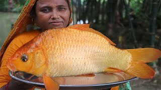 Village Food Golden Carp Fish Recipe Easy Alive Fish Jhol Curry Red Carp & Mirror Carp Fish Cooking