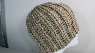 Repeat youtube video How to Crochet rib hat (step by step video) - Yolanda Soto Lopez