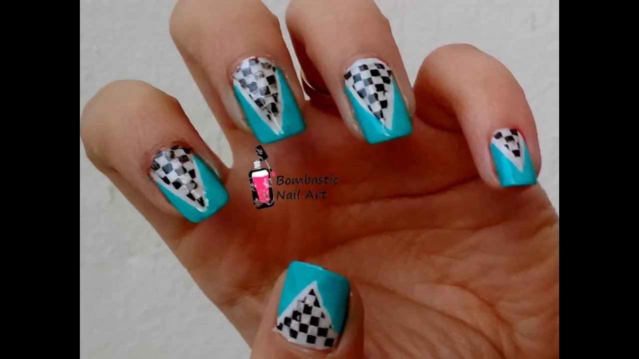 Nail Art Ideas cool nail art with tape : Cool Nail Art with Reverse Stamping and Striping Tape - YouTube