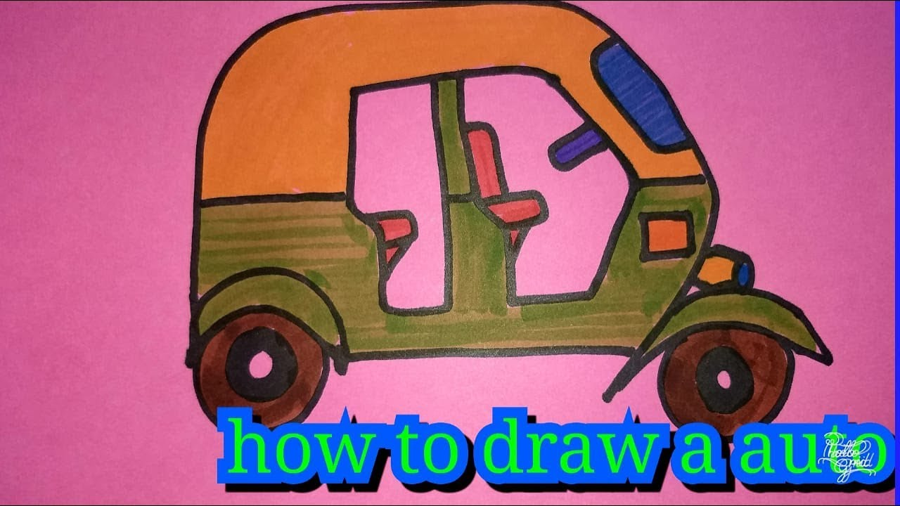 How To Draw Tuk Tuk Auto Rickshaw For Kids Fast And Easy Colouring