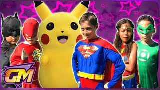 Justice League Vs Pokemon Go With Superman, Batman, Wonder Woman, Flash & Green Lantern