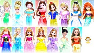 粘土でDIY リカちゃんドレス❤️ディズニープリンセスや人気キャラクターの衣装に変身✨ハイヒールも手作り♪おもちゃ 人形 アニメ