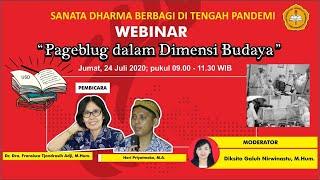 """Webinar Sanata Dharma Berbagi: """"pageblug Dalam Dimensi Budaya"""""""