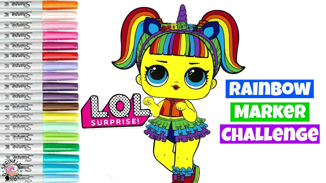 RAINBOW Marker Challenge !!! LOL Surprise Doll Confetti POP Unicorn Rainbow  Colors Edition 🌈