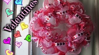 VALENTINES DAY WREATH TUTORIAL *DOLLAR TREE DECO MESH*