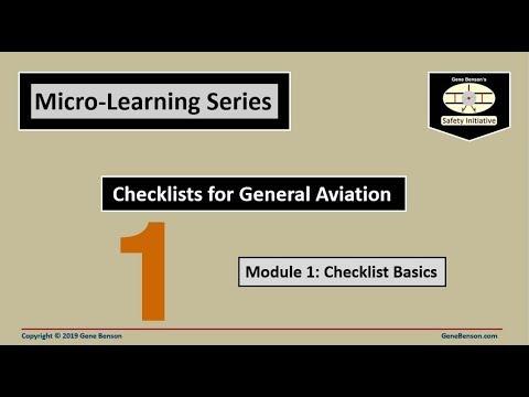 Checklists for General Aviation: Module 1- Checklist Basics
