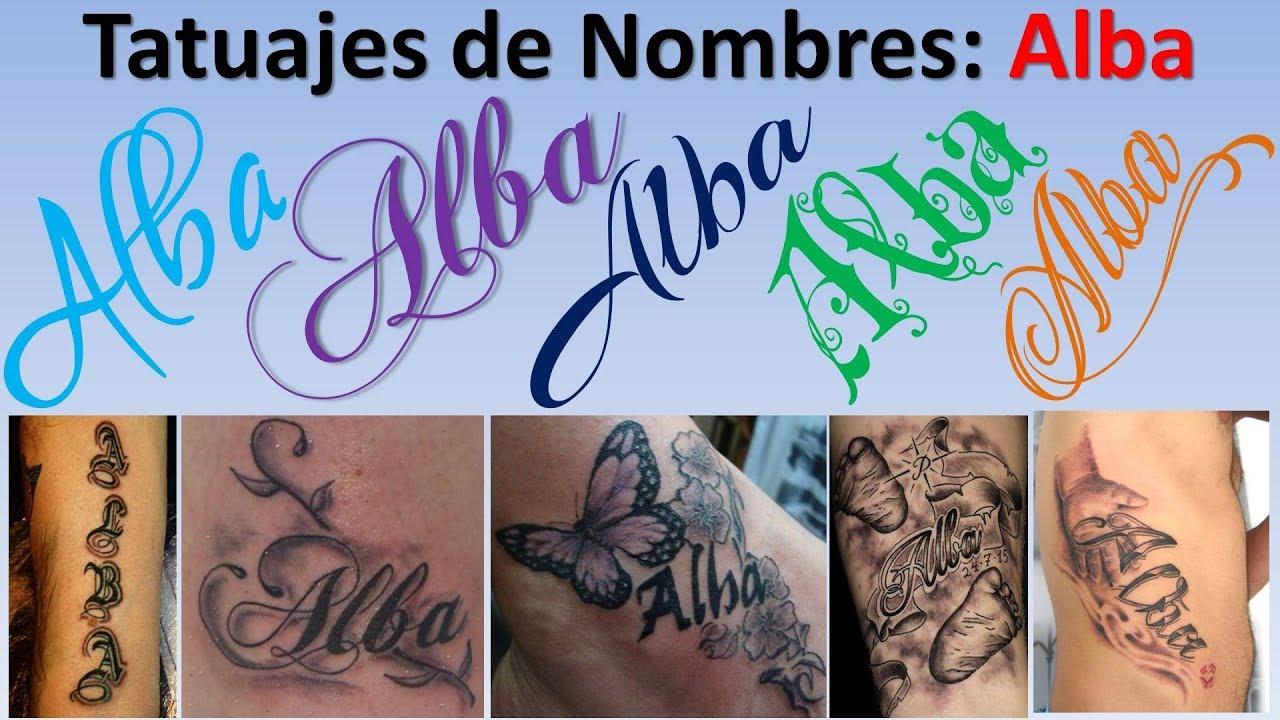 Diseños Y Tatuajes De Nombres Alba Youtube