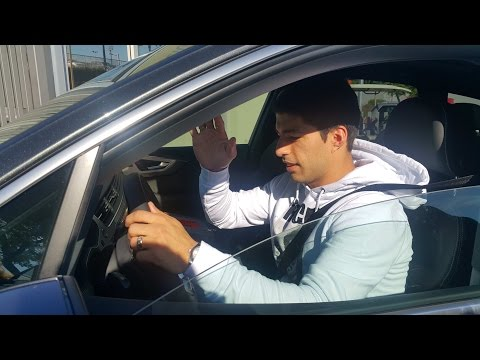 Luis Suarez Leaving Barcelona Training Ground and Signing Autographs From his Car