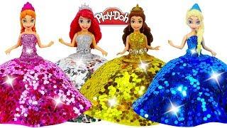 Disney Princesses ✨ Play Doh Super Sparkle Dresses for Frozen Elsa and Anna, Ariel, Belle Dolls