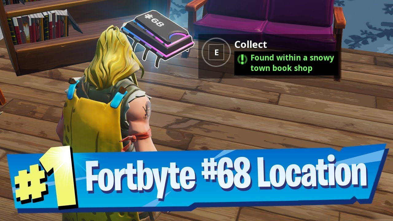 Fortnite Fortbyte #68 Location - Found within a snowy town Book Shop