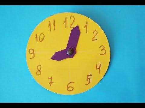 Как сделать часы с двигающимися стрелками из картона