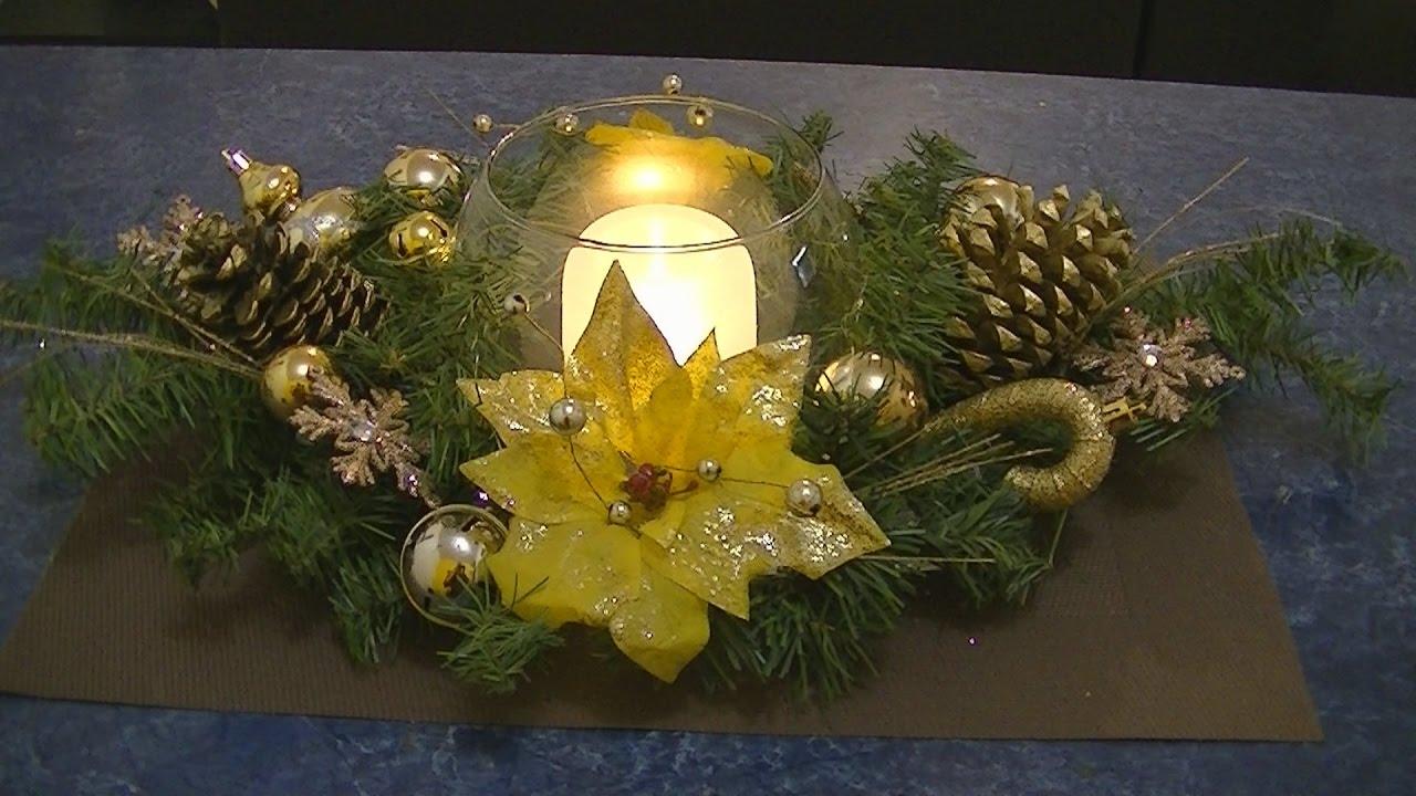 Haz un precioso centro de mesa navide o con vela led youtube - Centro de mesa navideno ...