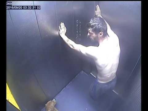 Thug kicks dog in towerblock lift before giving THUMBS UP to camera