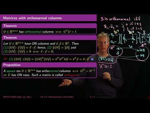 Orthonormality - Linear Algebra - G3