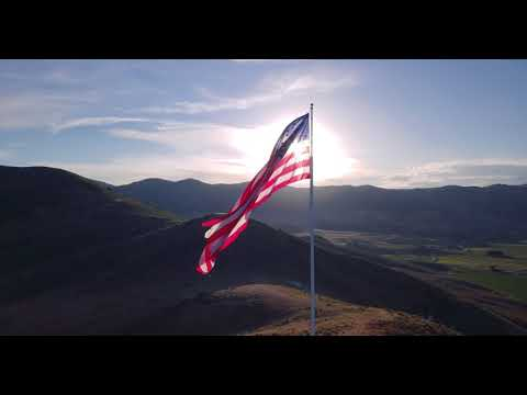 OLD GLORY: Royalty-free CC Drone Footage Of The American Flag At Sunset (4K, 24fps, Download Link)