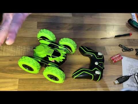 SGILE 4WD RC Stunt Car with battery Double-Side 360° Spins and Flips unboxing and instructions