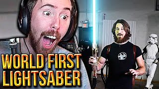 Asmongold Reacts to The World First Real LIGHTSABER Build | By The Hacksmith