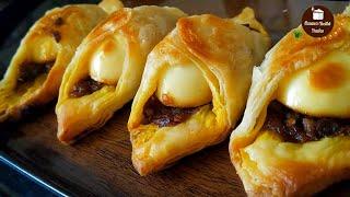 ఒవన లకడ బకర సటల ఎగ పఫ ఇటలన ఈజగ చయచచ-Egg Puff Without Oven-Puff Pastry Recipe