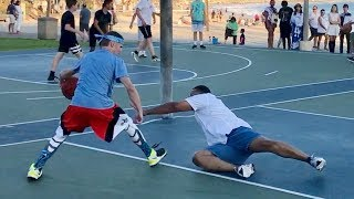 Professor vs Trash Talker 1v1 for $100.. EPIC beach court thumbnail