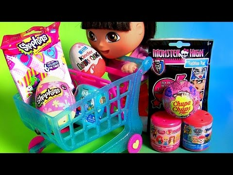 SURPRISE EGGS Dora The Explorer Kinder Shopkins Egg 5 Mashems Fashems Disney Princess Chupa Chups