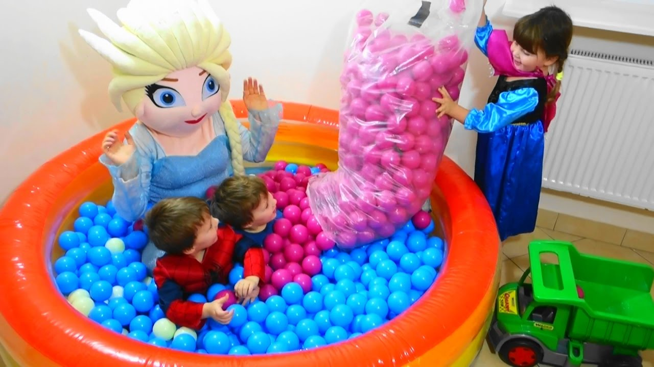 Baby Toys Balls With Elsa And Kids Children Playing With
