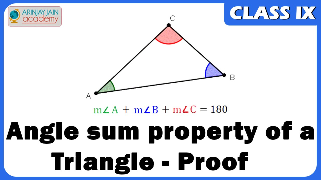 Proof Of Angle Sum Property Of A Triangle Maths Youtube