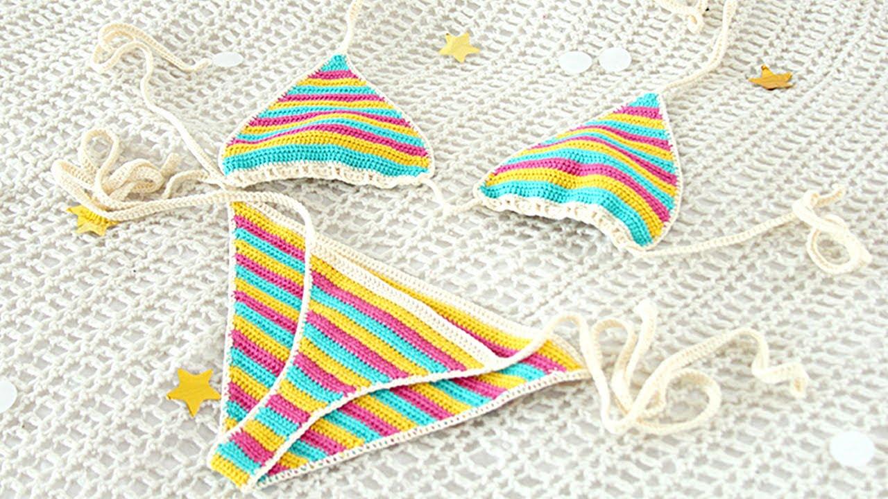 Pink /& White Striped Crochet Bikini Top
