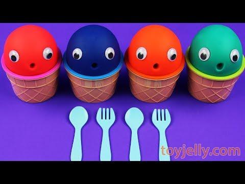4 Colors Play Doh Ice Cream Cups Disney Princess Mystery Egg Barbie Kinder Surprise Egg PAW PATROL