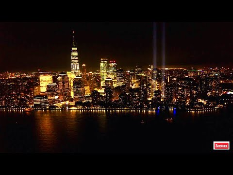 New York City Skyline at Night HD 4K Screensaver Downtown Manhattan Wallpaper 4K - Aerial Landscapes